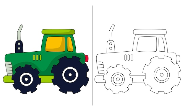 Childrens coloring book illustration utility tractor
