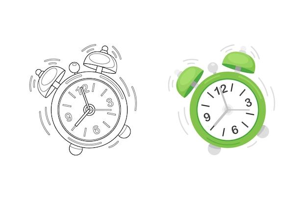 目覚まし時計でかわいいイラストを着色する子供たち