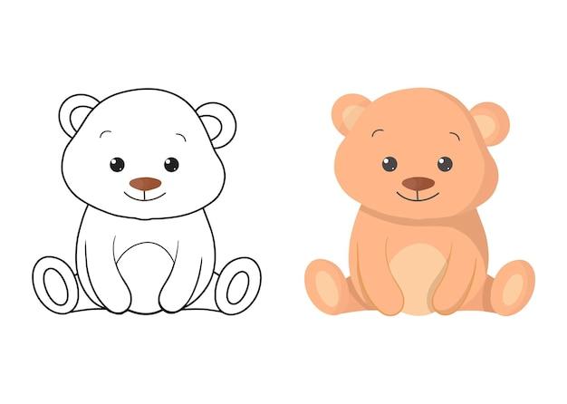 クマとイラストを着色する子供たち