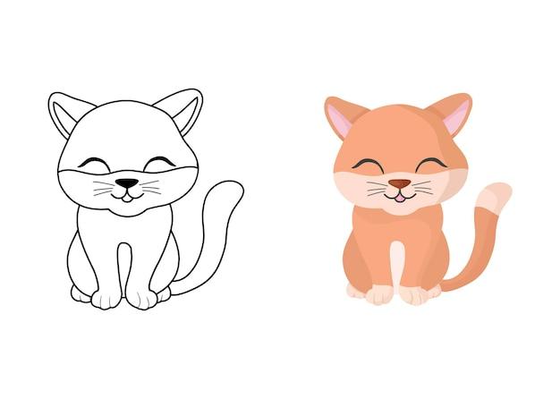 猫とイラストを着色する子供たち