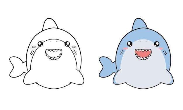 かわいいサメの漫画でイラストを着色する子供たち