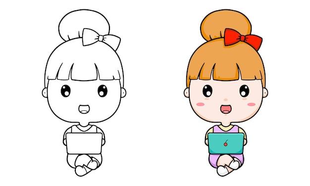 女の子とノートパソコンの漫画でイラストを着色する子供たち