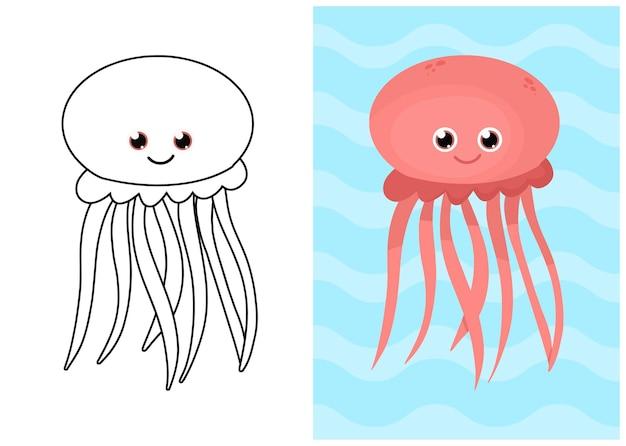 クラゲでイラストを着色する子供たち