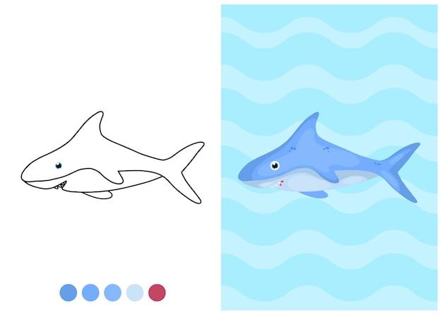 サメとイラストを着色する子供たち
