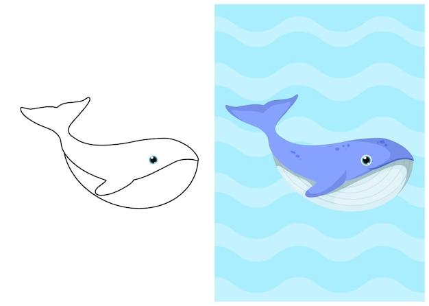 クジラとイラストを着色する子供たち