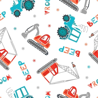 Childrens construction machinery seamless pattern