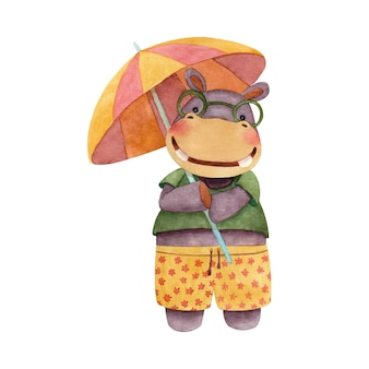 Childrens cute illustration with a hippo holding an umbrella from the sun