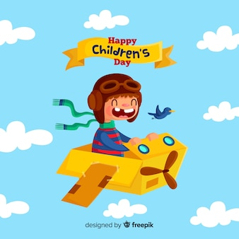 Childrens day cardboard plane background