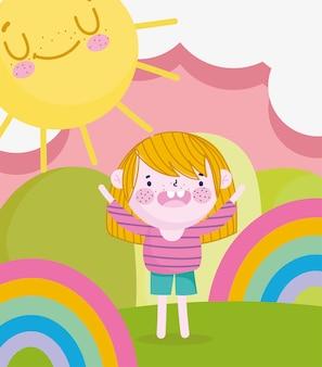 Детский день, мультяшный мальчик в волшебной сцене с радугой и солнцем векторная иллюстрация