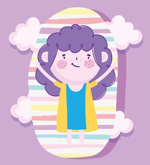 Childrens day, cartoon cute girl with purple hair and stripes background vector illustration