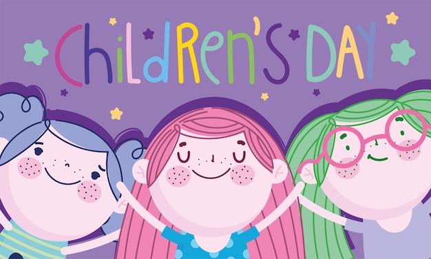День защиты детей, мультфильм счастливые маленькие девочки персонажи карты векторная иллюстрация