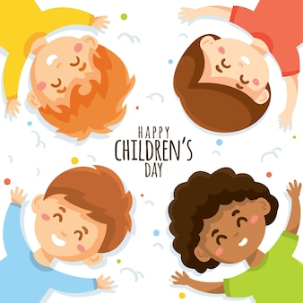 Childrens day concept in hand drawn