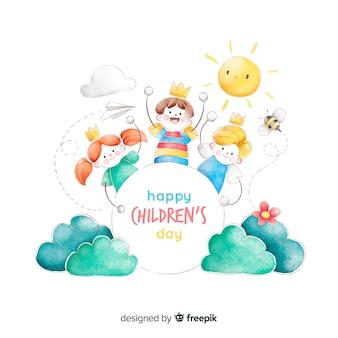 Детский день концепция в акварели