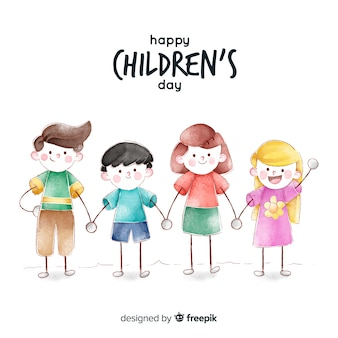 Childrens day concept in watercolor