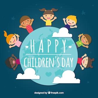 Концепция детского дня с детьми вокруг земли