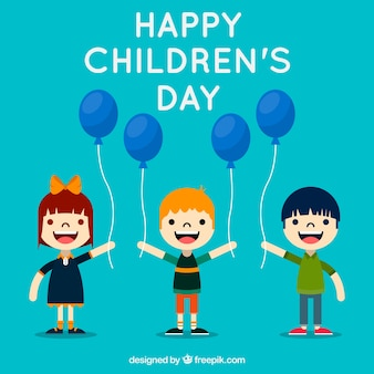 평평한 아이들과 함께하는 어린이 날 디자인