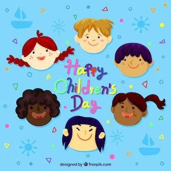 Childrens day design with hand drawn faces