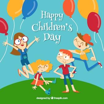 幸せな子供たちと子供の日のデザイン