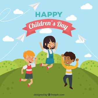Childrens day design with kids dancing on hill