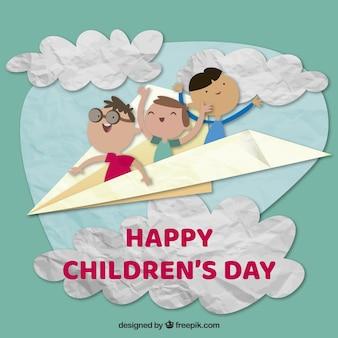 紙の飛行機での子供の日のデザイン