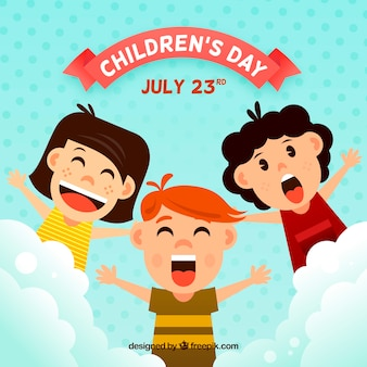 Childrens day design with screaming kids