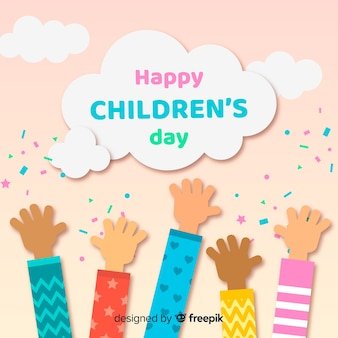 Childrens day flat hands collection