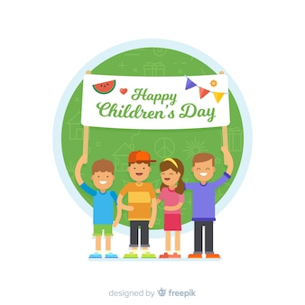 Childrens day flat sign background