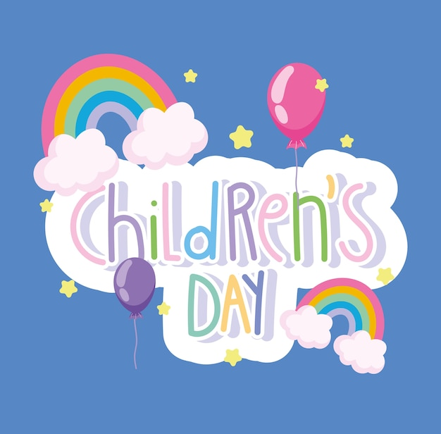Childrens day, greeting card rainbows and balloons cartoon vector illustration