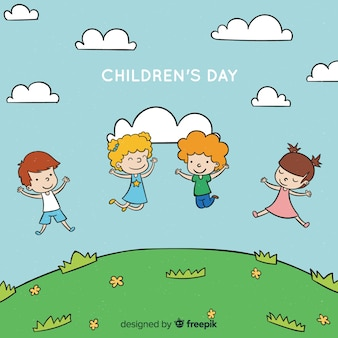 Childrens day hand drawn hill background