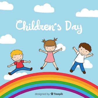 Childrens day hand drawn sky background