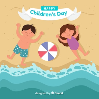 Childrens day kids shore background