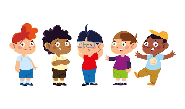 Детский день, маленькие милые мальчики персонажи мультфильма стоя