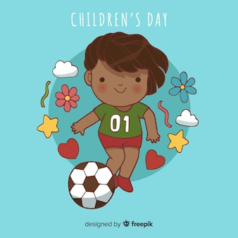 Childrens day sporty kid background