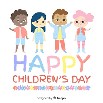 Childrens day waving friends background