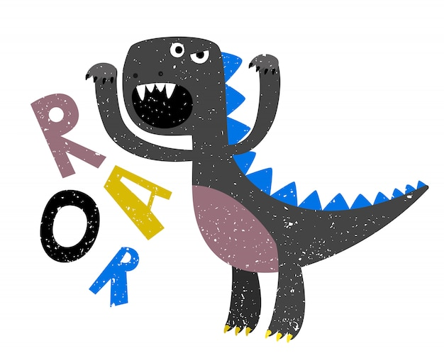 Childrens drawing of scary growling dinosaur flat