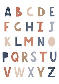 어린이 글꼴 학교, 유치원을위한 재미있는 아이 만화 편지 귀여운 색상 알파벳 아기 글자