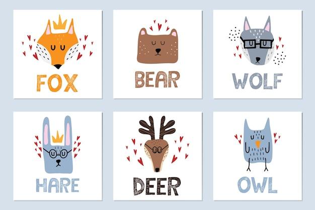숲 동물과 함께 어린이 손으로 그린 포스터 세트 여우 사슴 늑대 올빼미 토끼가있는 포스터