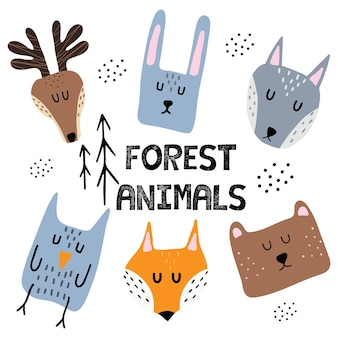Childrens hand drawn set of illustrations of forest animals