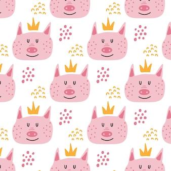 왕관을 쓰고 귀여운 돼지 머리와 돼지 패턴으로 어린이 handdrawn 배경