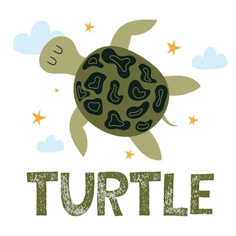 Childrens handdrawn illustration of cute turtle
