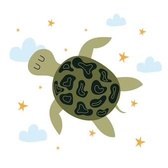Childrens handdrawn illustration of cute turtleturtle flying across the sky with clouds and stars