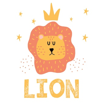Childrens handdrawn illustration of a lions head lion head with crown
