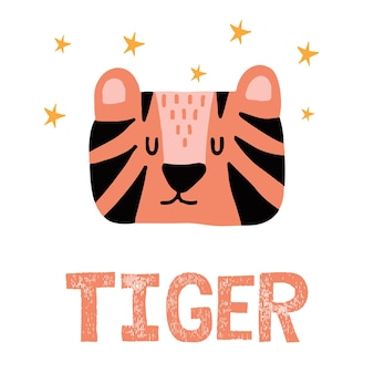Childrens handdrawn illustration of a tiger with stars letteringcute tiger face