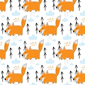 Childrens handdrawn pattern with red fox pattern with cute fox and clouds