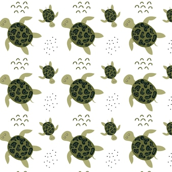 Childrens handdrawn pattern with turtles pattern with cute green turtles