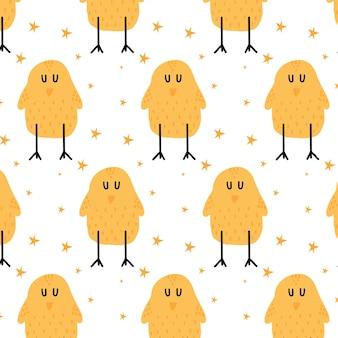 鶏と子供の手描きのシームレスなパターン星とかわいい鶏