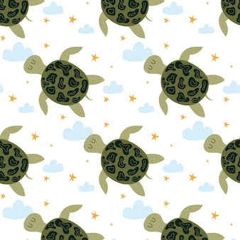 Childrens handdrawn seamless pattern with a turtle