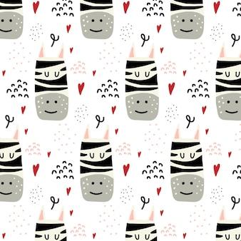 얼룩말과 마음으로 어린이 handdrawn 원활한 패턴