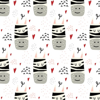 Childrens handdrawn seamless pattern with zebra and hearts