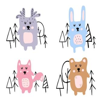子供の手描きの森の動物のセットかわいい森の動物鹿のノウサギのクマとキツネのセット